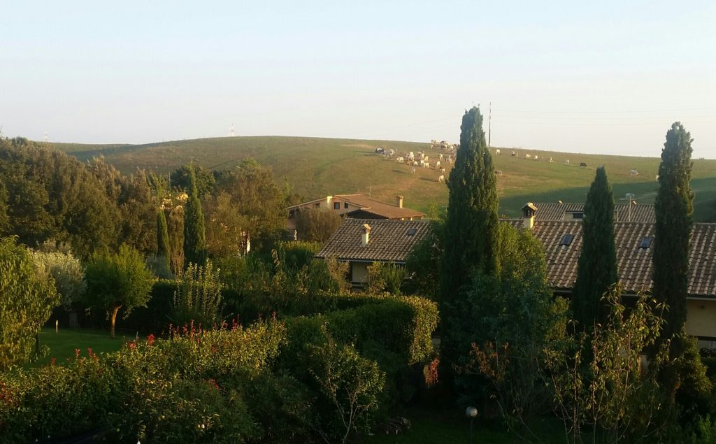 italian rolling hills from an upstairs window
