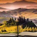 image of tuscan countryside unfolding out of a book