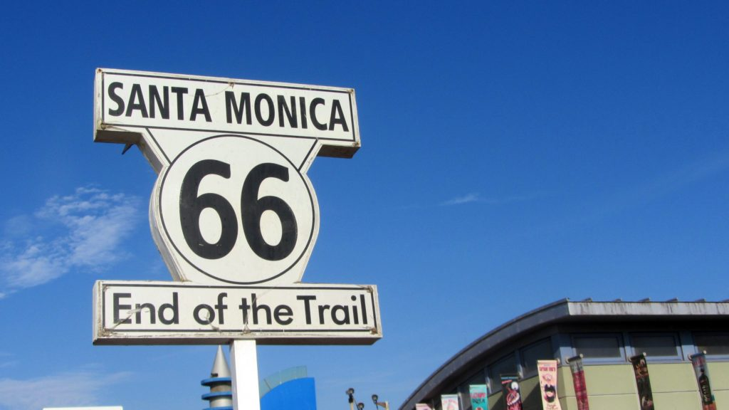sign saying route 66 end of the trail in Santa monica