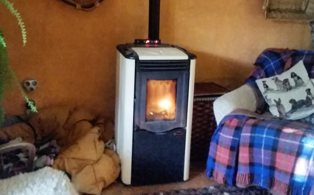 cozy fireplace of pellet stove