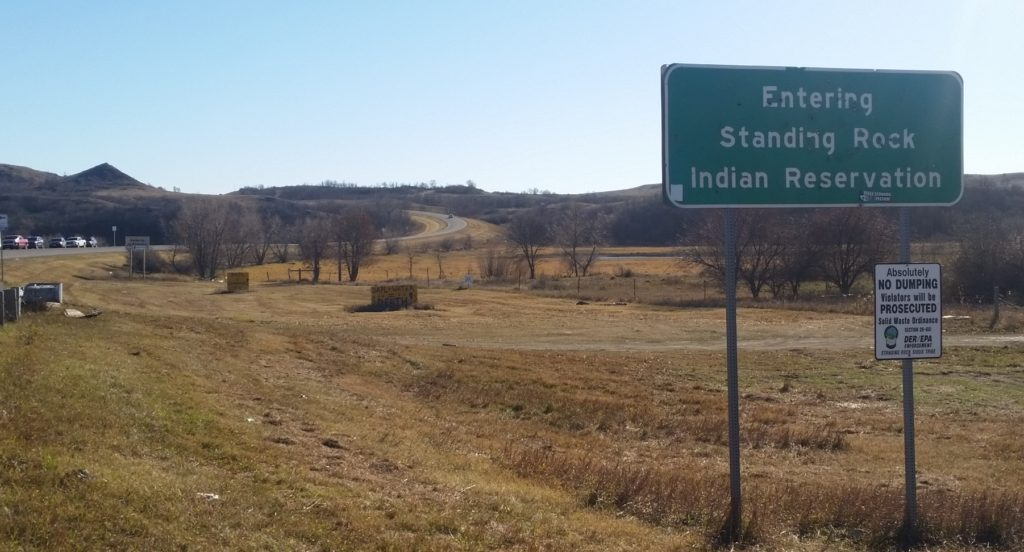 road sign approaching standing rock