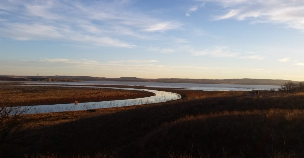 Overlooking the Missouri River as it winds through the Standing Rock campground.