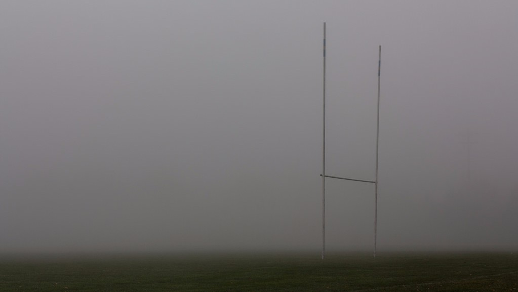 goal post on cloudy day