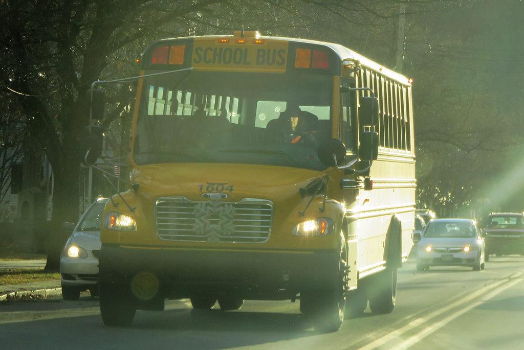 school bus on the highwya