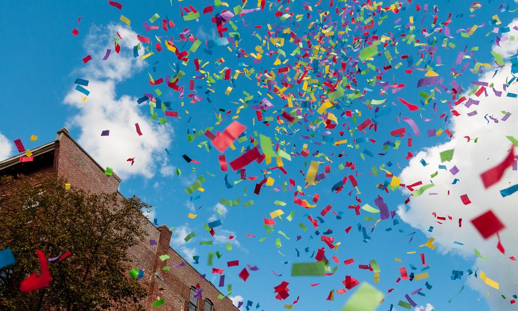 confetti explosion against the sky