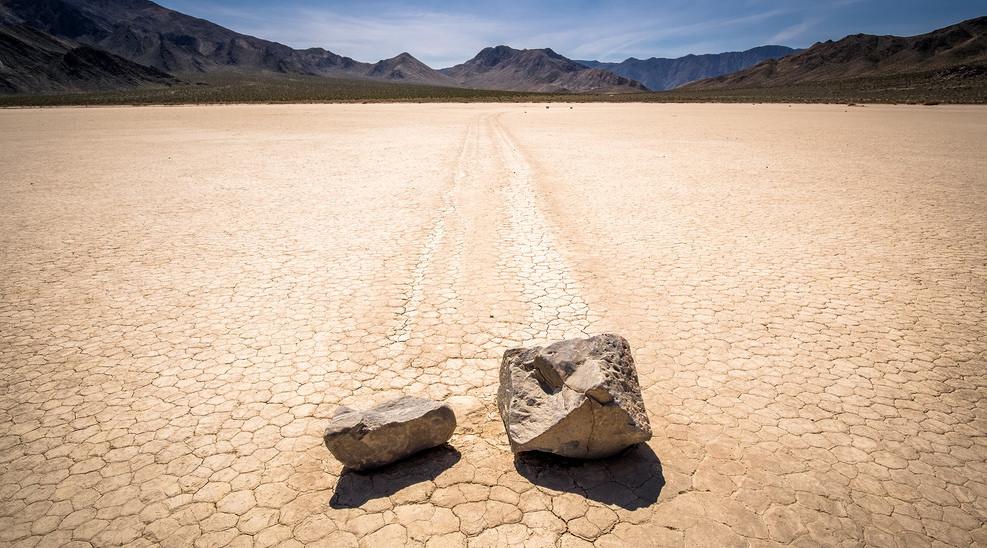 sliding rocks going for desert finish line