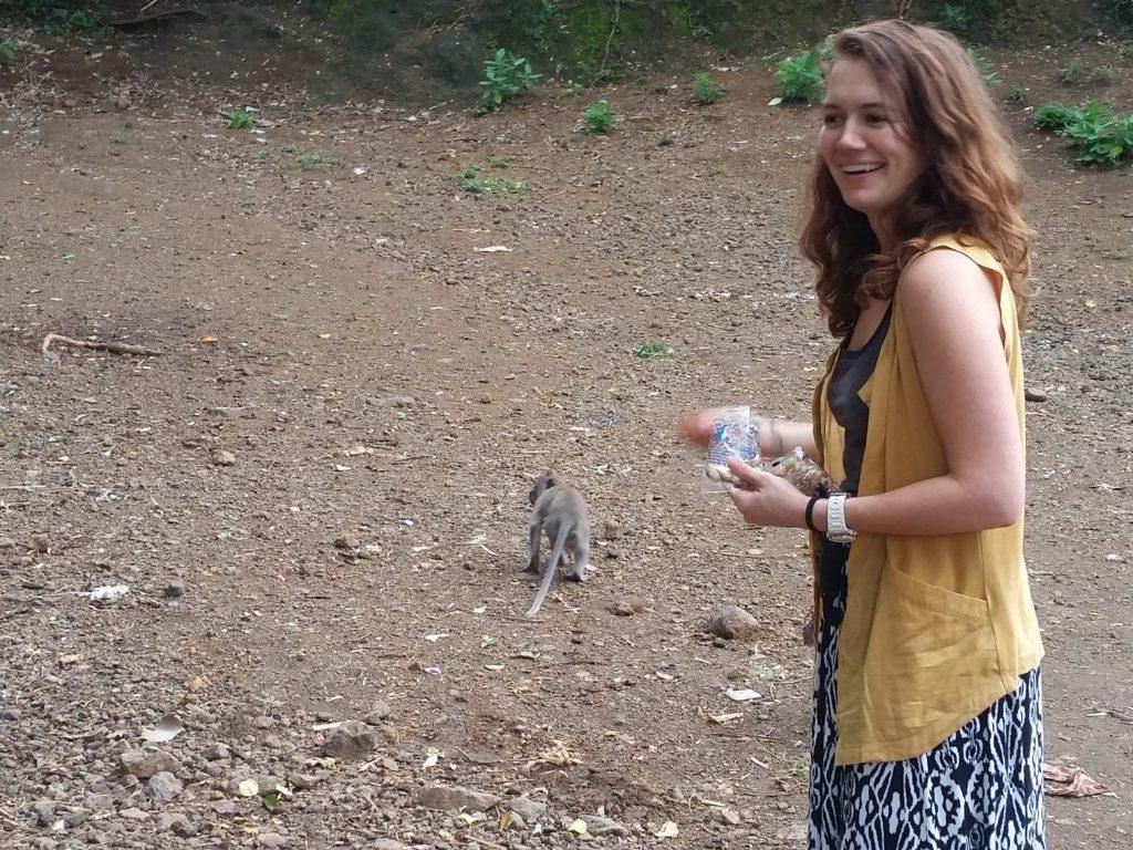 meggan feeding a monkey in bali