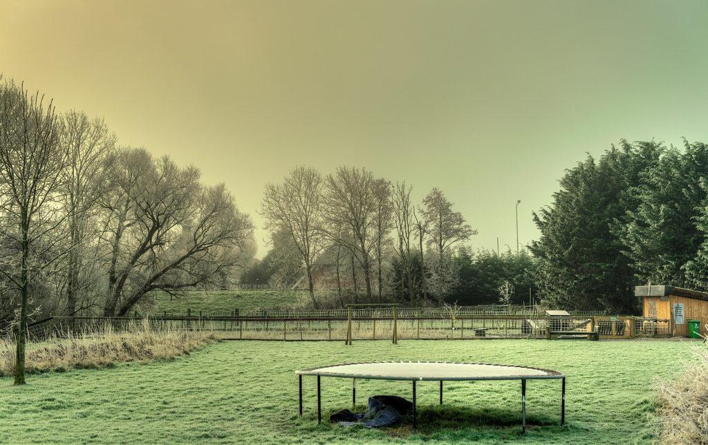 a trampoline in a park