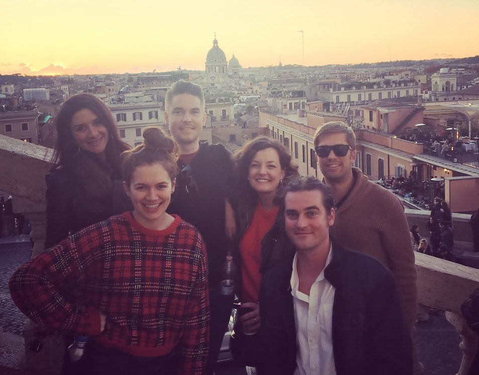 group photo of me and friends standing on the spanish steps in rome italy