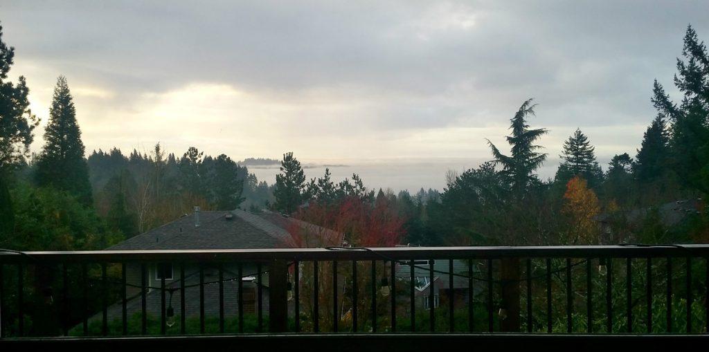 sunrise view over fog and potland