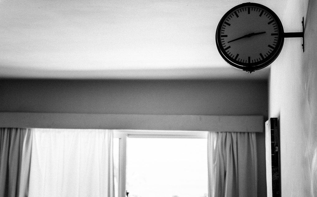 a clock in an empty room